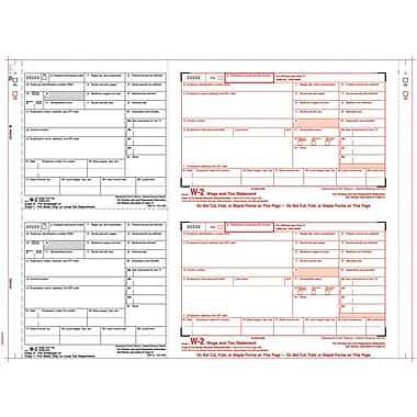 TOPS® W-2 Tax Form, 6 Part 2 Wide, White, 14 7/8