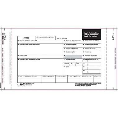 TOPS™ W-2 Tax Form, 8 Part, Mailer, White, 14 7/8in. x 5 1/2in., 100 Forms/Pack