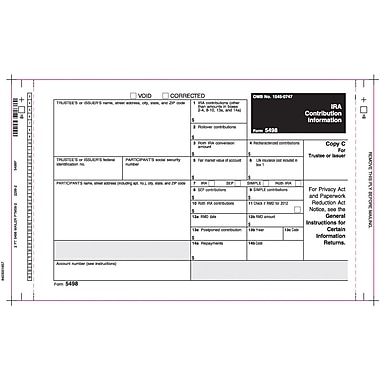 TOPS 5498 Tax Form, 2 Part, Mailer, White, 9in. x 5 1/2in., 100 Forms/Pack