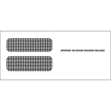 TOPS Gummed 3 Up 1099 Tax Double Window Envelope, 24 lb., White, 3 3/4in. x 8 1/2, 100/Pack