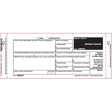 TOPS 1099INT Tax Form, 2 Part Peel-A-Part, White, 9in. x 3 2/3in., 102 Forms/Pack