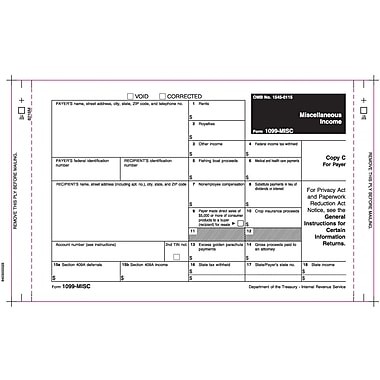 TOPS® 1099MISC Tax Form, 2 Part Mailer, with extra ply, White, 9in. x 5 1/2in., 100 Forms/Pack