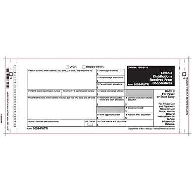 TOPS™ 1099PATR Tax Form, 2 Part Mailer, White, 9in. x 3 2/3in., 102 Forms/Pack