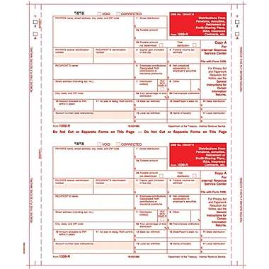 TOPS™ 1099R Tax Form, 4 Part Mailer, Copy A printed in red, White, 9in. x 5 1/2in., 100 Forms/Pack