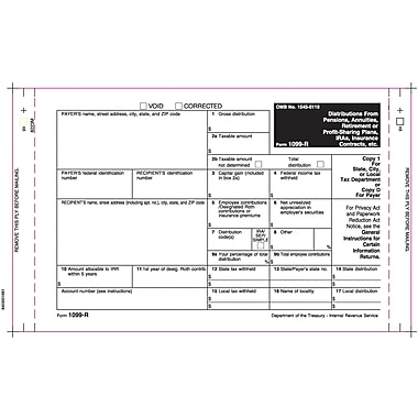 TOPS™ 1099R Tax Form, 4 Part Mailer, White, 9in. x 5 1/2in., 100 Forms/Pack