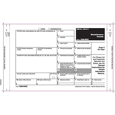 TOPS 1099MISC Tax Form, 3 Part, White, 9in. x 5-1/2in., 100 Forms/Pack