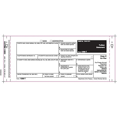 TOPS 1098T Tax Form, 2 Part Mailer, White, 9in. x 3 2/3in., 102 Forms/Pack