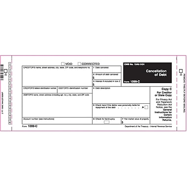 TOPS 1099C Tax Form, 2 Part Mailer, White, 9in. x 3 2/3in., 102 Forms/Pack