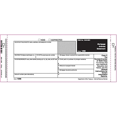 TOPS 1098 Tax Form, 2 Part Mailer, White, 9in. x 3 2/3in., 102 Forms/Pack