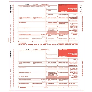 TOPS 1099MISC Tax Form, 3 Part Mailer, Copy A printed in red, White, 9in. x 5 1/2in., 100 Forms/Pack