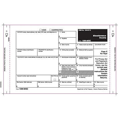 TOPS 1099MISC Tax Form, 3 Part Mailer, Undated, White, 9in. x 5 1/2in., 100 Forms/Pack