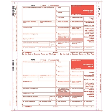 TOPS 1099MISC Tax Form, 4 Part Mailer, White, 9in. x 5 1/2in., 100 Forms/Pack