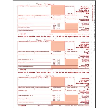 TOPS 1099SA Tax Form, 3 Part, White, 9in. x 3 2/3in., 102 Forms/Pack