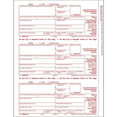 TOPS 1099LTC Tax Form, 4 Part, White, 9in. x 3 2/3in., 102 Forms/Pack