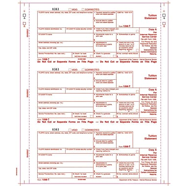 TOPS 1099T Tax Form, 4 Part, White, 9in. x 3 2/3in., 102 Forms/Pack
