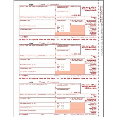 TOPS 5498SA Tax Form, 3 Part, White, 9in. x 3 2/3in., 102 Forms/Pack