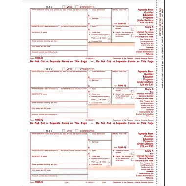 TOPS 1099Q Tax Form, 3 Part, White, 9in. x 3 2/3in., 102 Forms/Pack
