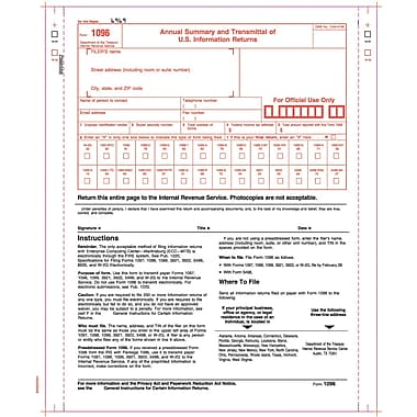 TOPS 1096 Tax Form, 2 Part, White, 9in. x 11in., 100 Forms/Pack