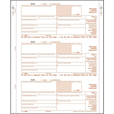 TOPS 1098 Tax Form, 3 Part, White, 9in. x 3 2/3in., 102 Forms/Pack