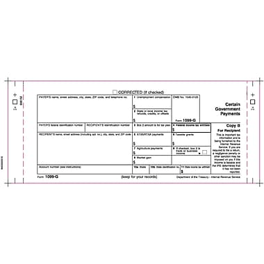 TOPS 1099G Tax Form, 1 Part, White, 9in. x 3 2/3in., 102 Forms/Pack