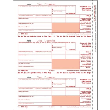 TOPS 5498ESA Tax Form, 3 Part, White, 9in. x 3 2/3in., 102 Forms/Pack
