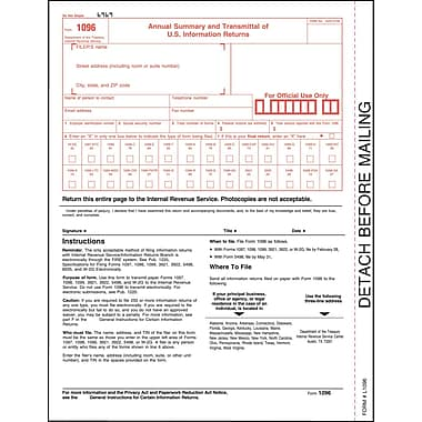 TOPS™ 1096 Tax Form, 1 Part, White, 8 1/2in. x 11in., 50 Sheets/Pack