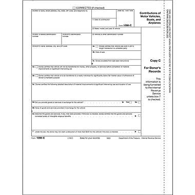 TOPS® 1098C Tax Form, 1 Part, Donor's Records - Copy C,White, 8 1/2