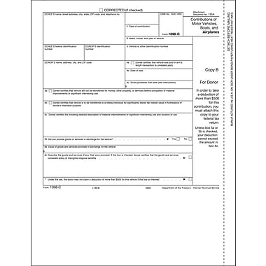 TOPS® 1098C Tax Form, 1 Part, Donor - Copy B, White, 8 1/2