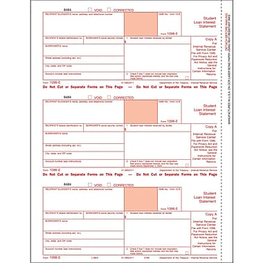 TOPS® 1098E Tax Form, 1 Part, Federal - Copy A, White, 8 1/2in. x 11in., 50 Sheets/Pack