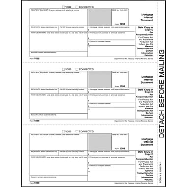 TOPS® 1098 Tax Form, 1 Part, Recipient - Copy C, White, 8 1/2