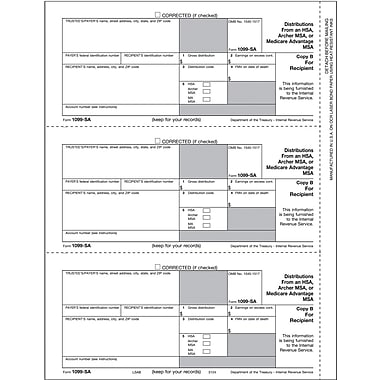 TOPS 1099SA Tax Form, 1 Part, Recipient - Copy B, White, 8 1/2in. x 11in., 50 Sheets/Pack