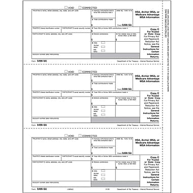 TOPS® 5498SA Tax Form, 1 Part, Trustee/State Copy C, White, 8 1/2in. x 11in., 50 Sheets/Pack