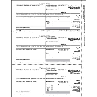 TOPS® 5498SA Tax Form, 1 Part, Participant Copy B, White, 8 1/2in. x 11in., 50 Sheets/Pack