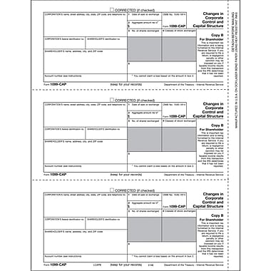 TOPS® 1099CAP Tax Form, 1 Part, Shareholder - Copy B, White, 8 1/2