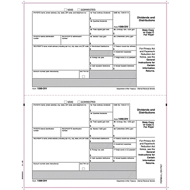 TOPS 1099DIV Tax Form, 1 Part, Payer/State - Copy C, White, 8 1/2in. x 11in., 50 Sheets/Pack