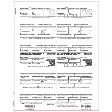 TOPS 1099R Tax Form, 1 Part, Laser, White, 8 1/2in. x 11in., 2000 Sheets/Carton
