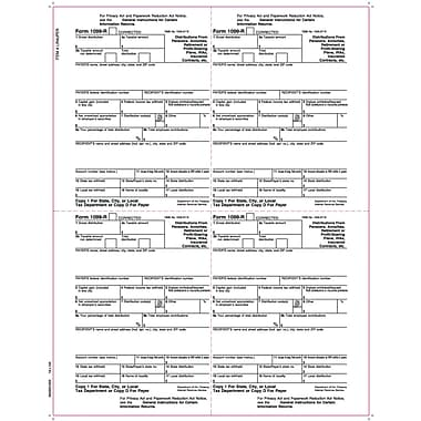 TOPS™ 1099R Tax Form, 1 Part, 4 Up Payer Copies 1/D, White, 8 1/2in. x 11in., 50 Sheets/Pack