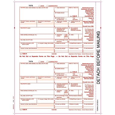TOPS 1099R Tax Form, 1 Part, Federal - Copy A, White, 8 1/2in. x 11in., 50 Sheets Per Pack