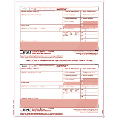 TOPS® W-2 Tax Form - American Samoa, 1 Part, Copy A, White, 8 1/2