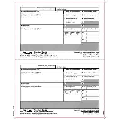 TOPS W-2 Tax Form  - American Samoa, 1 Part, Copy B, White, 8 1/2in. x 11in., 50 Sheets/Pack