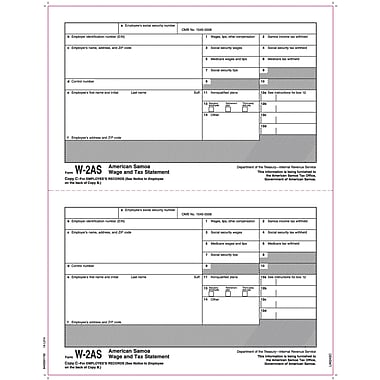 TOPS W-2 Tax Form  - American Samoa, 1 Part, Copy C, White, 8 1/2in. x 11in., 50 Sheets/Pack