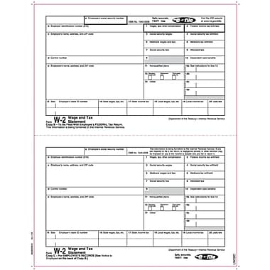TOPS® W-2 Tax Form, 1 Part, Copy B & C, White, 8 1/2