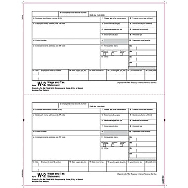 TOPS® W-2 Tax Form, 1 Part, Copy 2, White, 8 1/2
