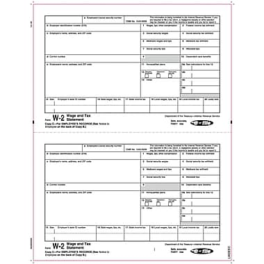 TOPS® W-2 Tax Form, 1 Part, Copy C, White, 8 1/2