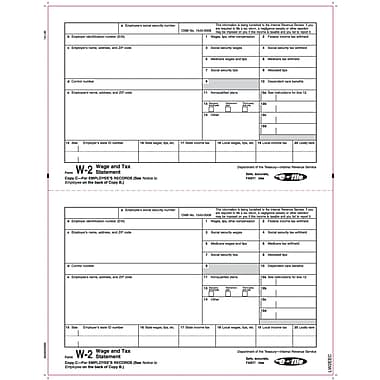 TOPS® W-2 Tax Form, 1 Part, Copy C, White, 8 1/2