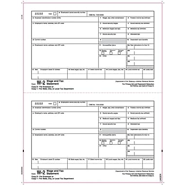 TOPS W-2 Tax Form, 1 Part, Copy 1/D, White, 8 1/2in. x 11in., 50 Sheets/Pack