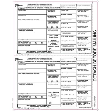 TOPS® W-2 Tax Form for Puerto Rico, 1 Part, Copy 1&D, W-2 employer copies, White, 8 1/2