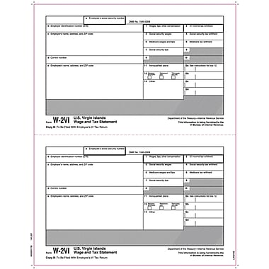 TOPS® W-2 Tax Form for American Virgin Islands, 1 Part, Copy B, White, 8 1/2