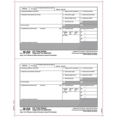 TOPS® W-2 Tax Form for American Virgin Islands, 1 Part, Copy 1/D,White, 8 1/2