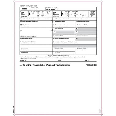 TOPS® W-3 Tax Form, 1 Part, Copy 1, White, 8 1/2